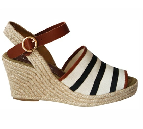 """This Marais USA sailor wedge ($175) has """"sunny days ahead"""" written all over it. Plus, the espadrille sole and preppy stripe detail supply the perfect offset to my classic cropped jeans and white tee looks. — Marisa Tom"""