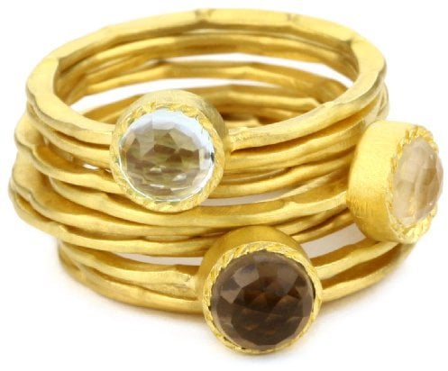 """Kevia """"Genevieve"""" Rose Cut Stone and Pounded Band Stacking Rings"""