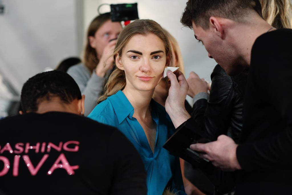 """The makeup look centered on a strong eyebrow and fresh, wind-blown face. """"It's a confident, sophisticated, understated look with a '90s twist,"""" explained lead makeup artist Kimberly Soane (for Bobbi Brown). Photo: Roger Kisby"""