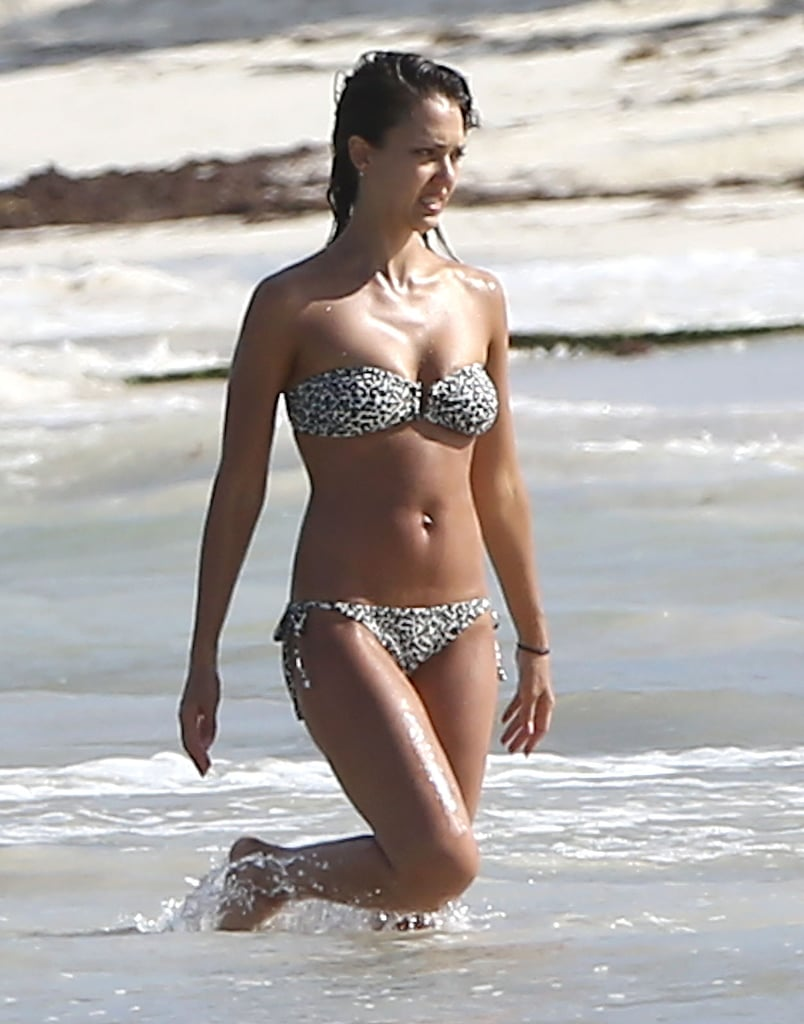 A July 2014 trip to Mexico brought out Jessica's bikini body in a leopard-print two-piece.