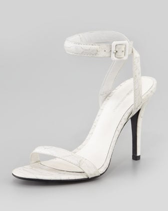 Alexander Wang Antonia Python-Embossed Ankle-Wrap Sandal