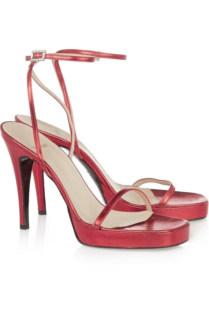 Vera Wang Metallic Leather Sandals