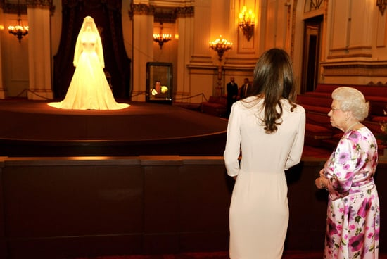 Pictures of Kate Middleton and The Queen Viewing Her Alexander McQueen Wedding Dress on Display at Buckingham Palace