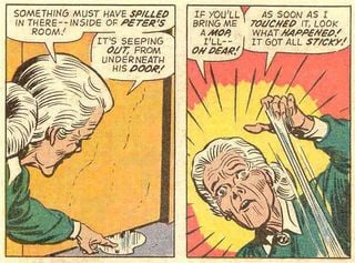 Granny found an unexplainable substance in Peter's room! Source: Marvel Comics