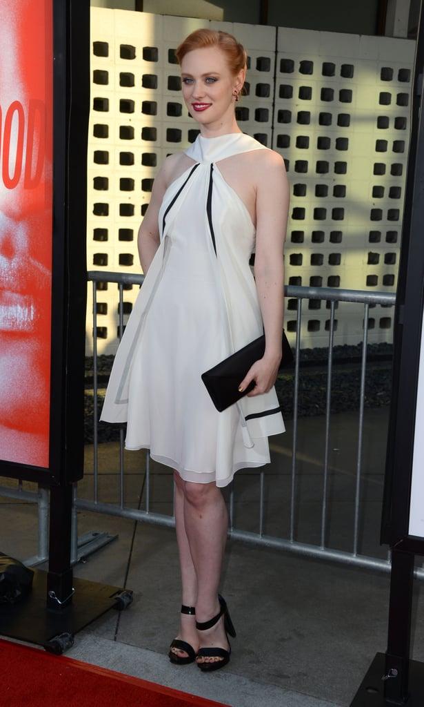 Deborah Ann Woll looked pretty in a white halter dress.