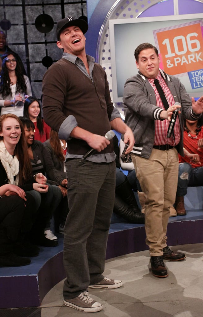Channing Tatum and Jonah Hill were up to their regular hijinks during a stop by NYC's 106 & Park in March.