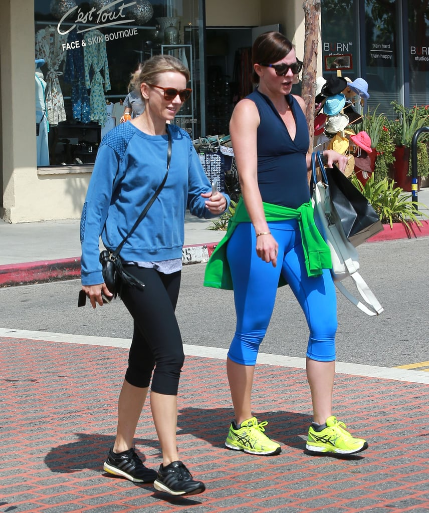 Naomi Watts was in high spirits after a Friday workout with a pal in LA's Brentwood district on Friday.