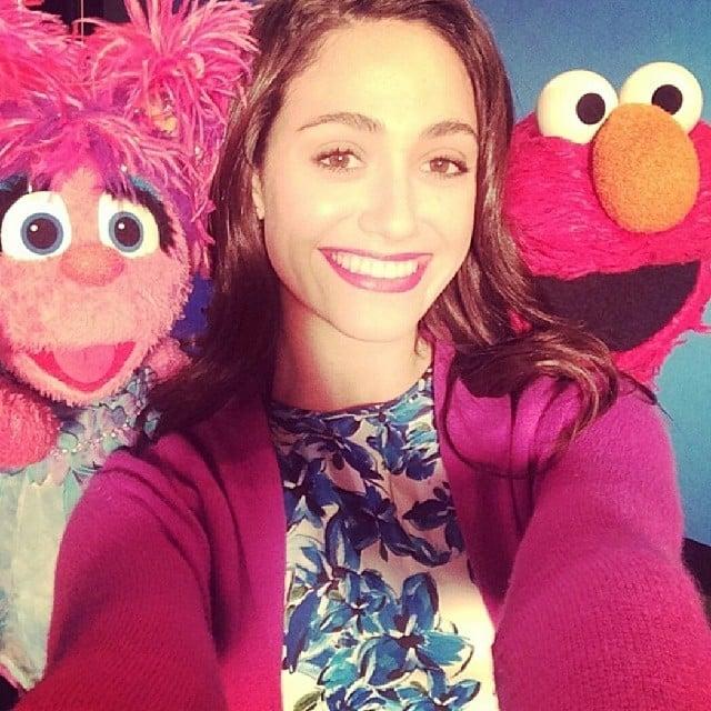 Emmy Rossum had fun with the cast of Sesame Street. Source: Instagram user emmyrossum