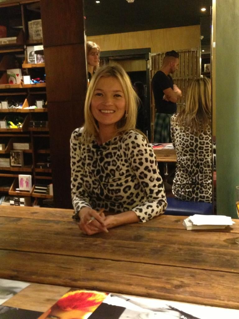 Kate Moss signed copies of her coffee-table book at Bookmarc in London. Source: Twitter user MarcJacobsIntl