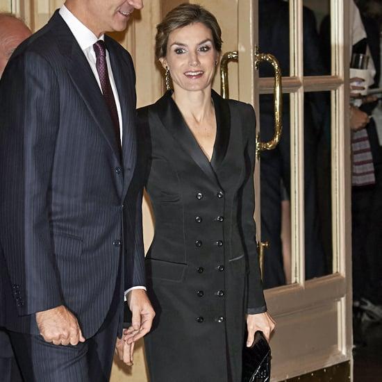 Queen Letizia Wearing a Black Tuxedo Jacket