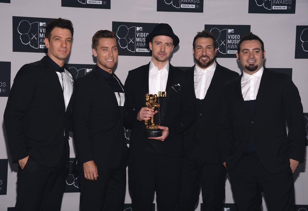 *NSYNC reunited on stage at the VMAs, then posed for pictures in the press room.