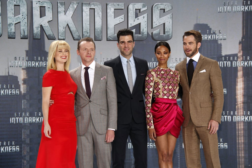 Alice Eve, Simon Pegg, Zachary Quinto, Zoe Saldana, and Chris Pine attended the Star Trek Into the Darkness premiere in Berlin.