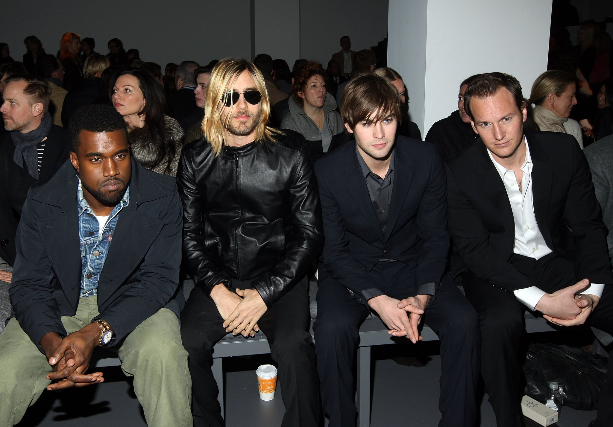 Kanye West, Jared Leto, Chase Crawford, and Patrick Wilson watched Calvin Klein in February 2009.