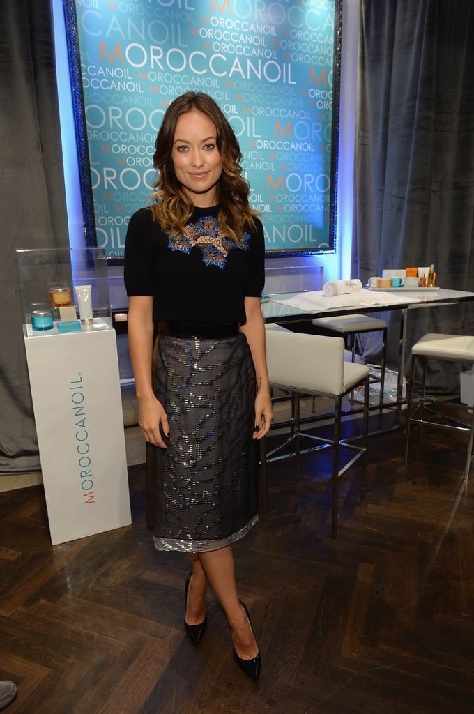 Olivia Wilde tucked a Marios Schwab top into an embellished skirt, also by the British designer, then added Jimmy Choo pumps to her Toronto International Film Festival style.
