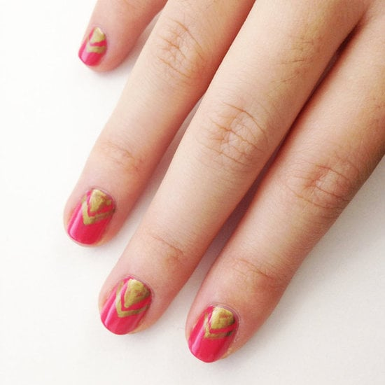 Get a little arts-and-crafts-y with your nails using a marker! This gold chevron nail design was created using a metallic sharpie.