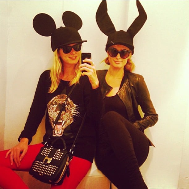 "Nicky and Paris Hilton tried on ""funny Comme des Garçons hats"" together. Source: Instagram user nickyhilton"