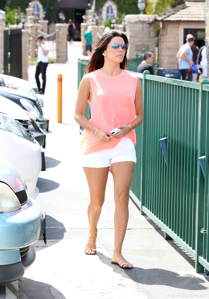 Eva Longoria wore shorts around LA on Saturday.