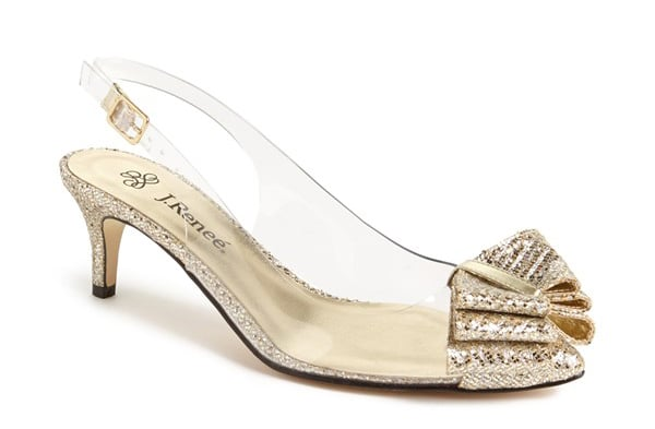 J. Reneé gold and clear slingback kitten heels ($85)