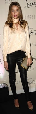 Rosie Huntington-Whiteley in Leather Pants, Louboutin Pumps