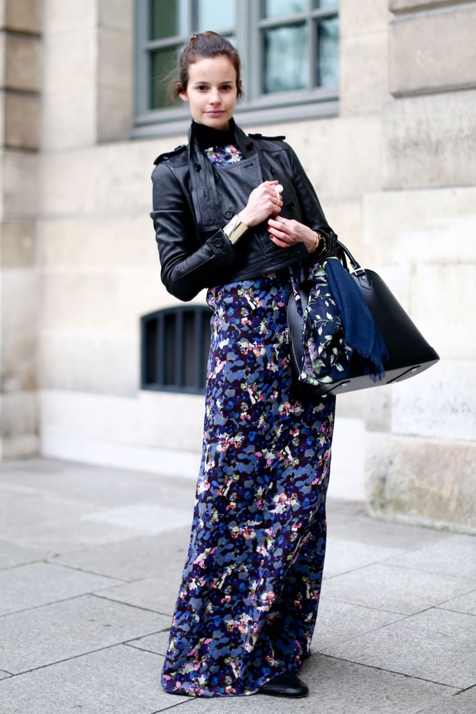 Bold florals got tempered with a slick moto jacket.