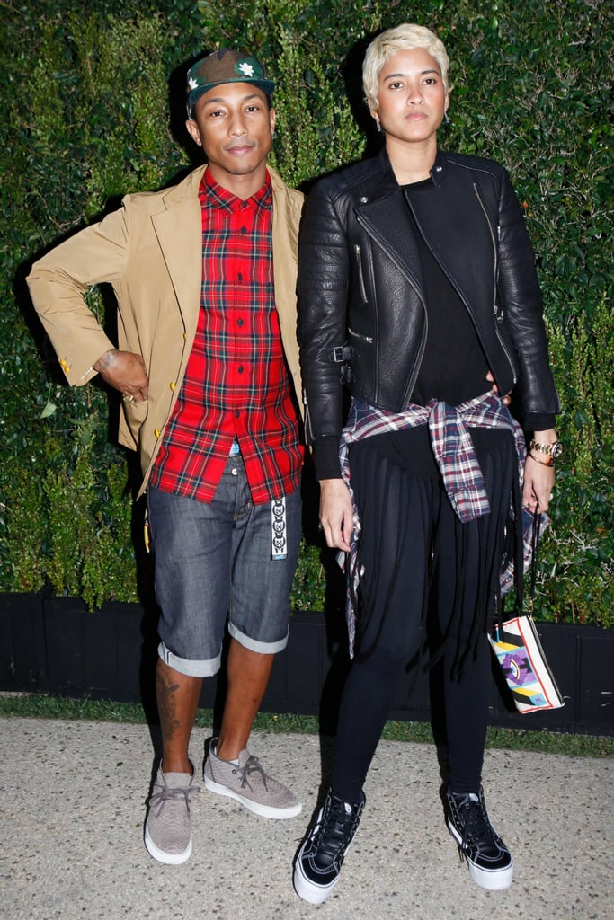 Pharrell Williams and his fiancée, Helen Lasichanh, at the Natural Resources Defense Council's A Celebration of Art, Nature, and Technology dinner, hosted by Chanel. Source: Koury Angelo/BFAnyc.com