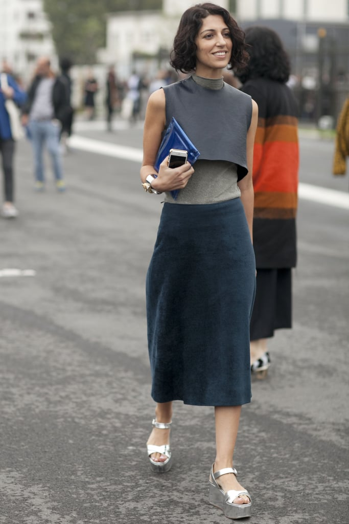 Yasmin Sewell gave us a lesson in unexpected layers and great footwear.
