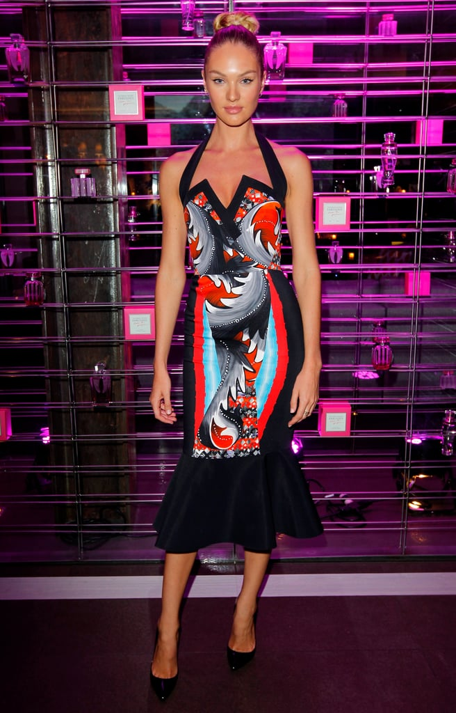 Candice Swanepoel wore a Peter Pilotto dress for the Victoria's Secret party in LA.