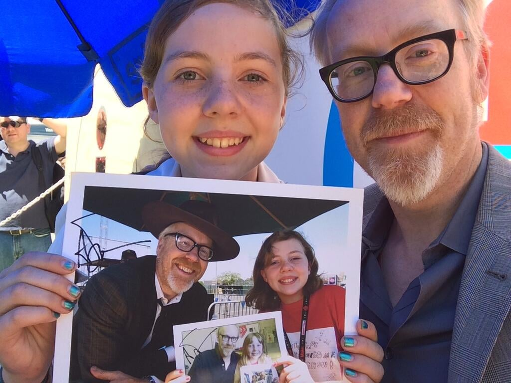 """Adam Savage tweeted this cool photo. 'This is the awesome Silvia. She's come to Maker Faire and taken a photo with me holding last year's pic for 5 years!'"" Source: Reddit user Randyy1 via Imgur"