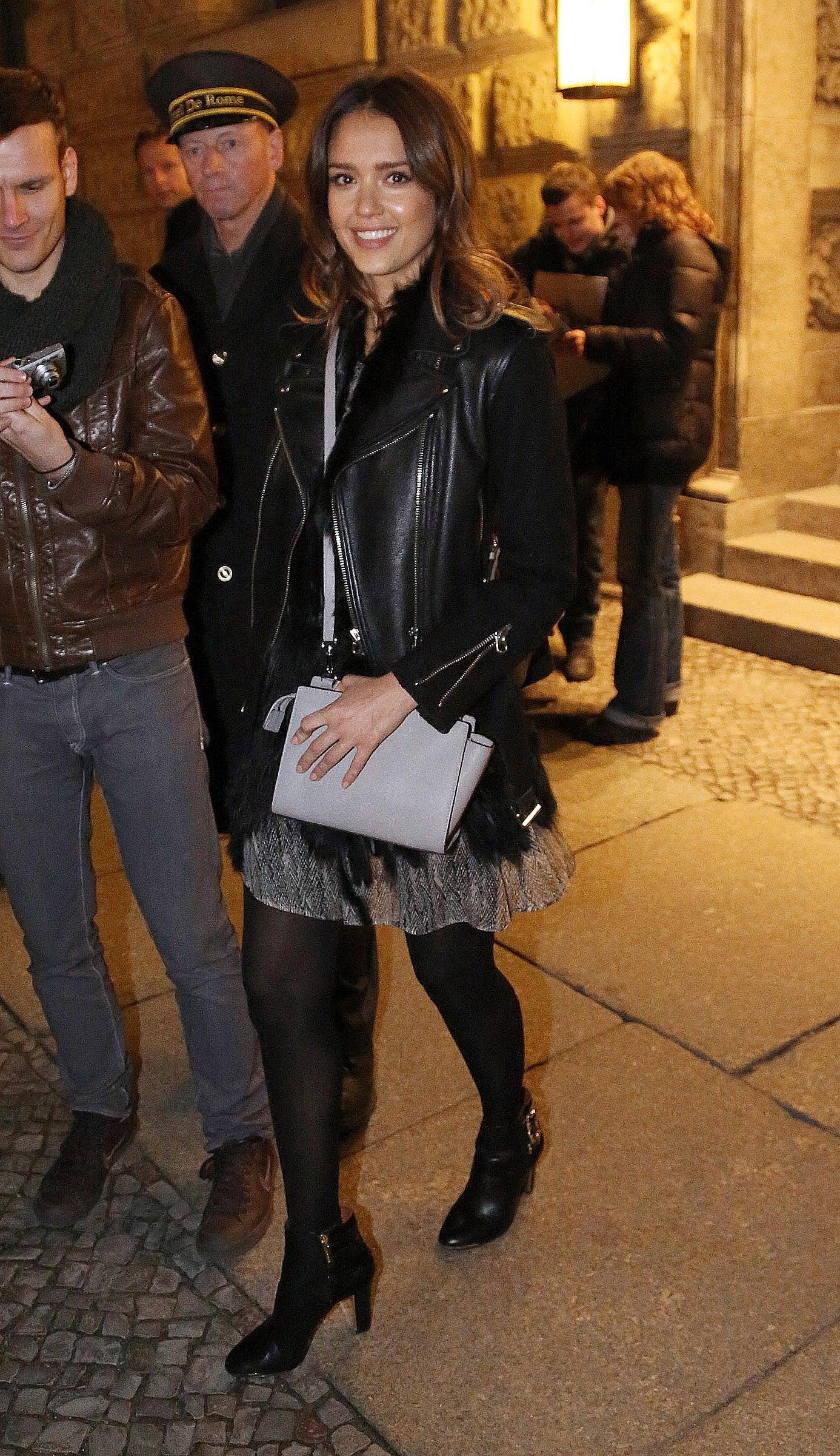 Jessica Alba in Sheer Printed Skirt
