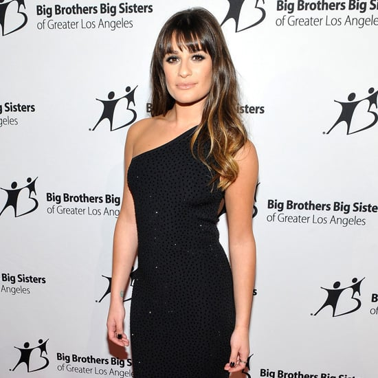 Lea Michele Wearing Black One Shoulder Dress