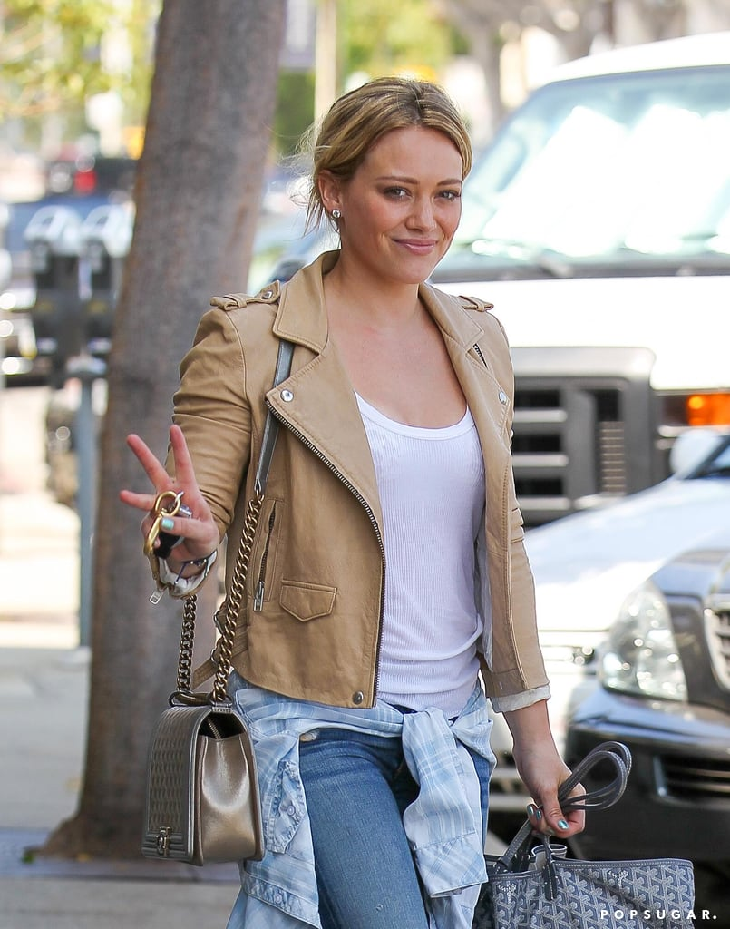 Hilary Duff layered up for her Friday out in LA.
