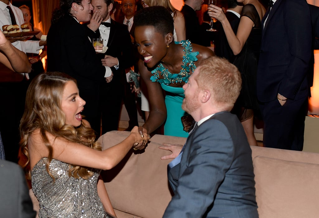 Sofia Vergara and Jesse Tyler Ferguson were superexcited to meet Lupita Nyong'o at The Weinstein Company's SAGs afterparty.
