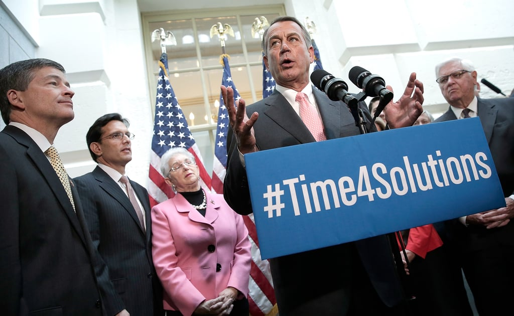 Speaker of the House John Boehner addressed the crowd during a press conference at the US Capitol.