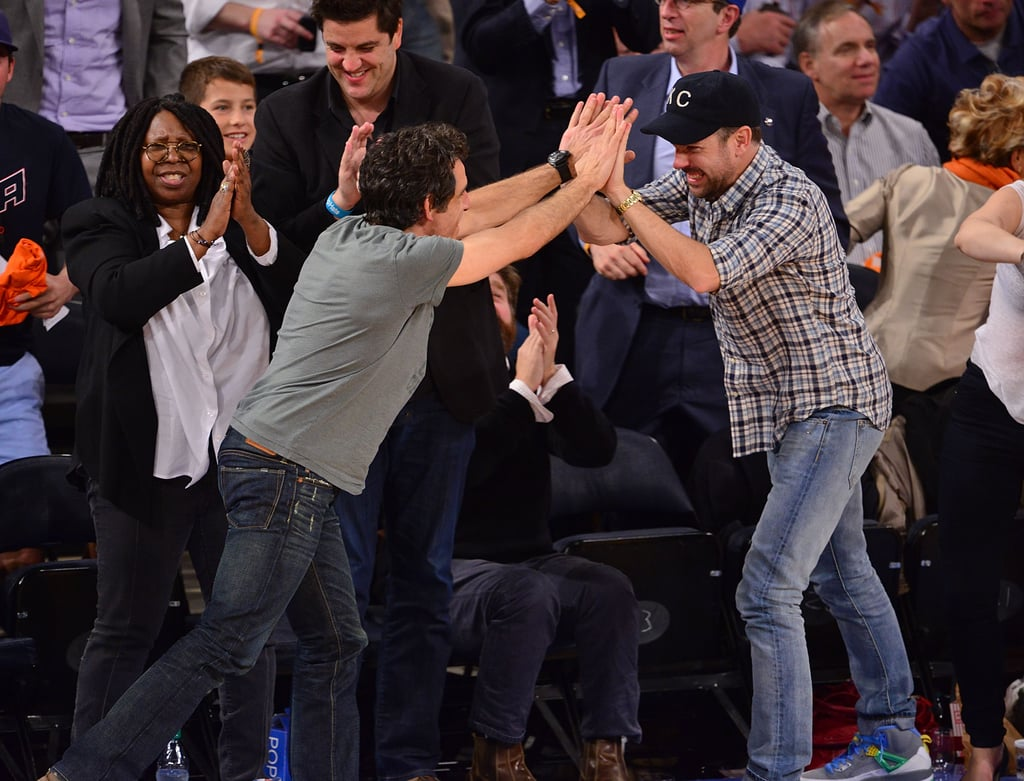 Double high five! Ben Stiller and Jason Sudeikis shared an enthusiastic moment as the NY Knicks played the Boston Celtics in May 2013.