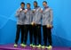 Nathan Adrian, Michael Phelps, Cullen Jones, and Ryan Lochte at the 2012 Olympics