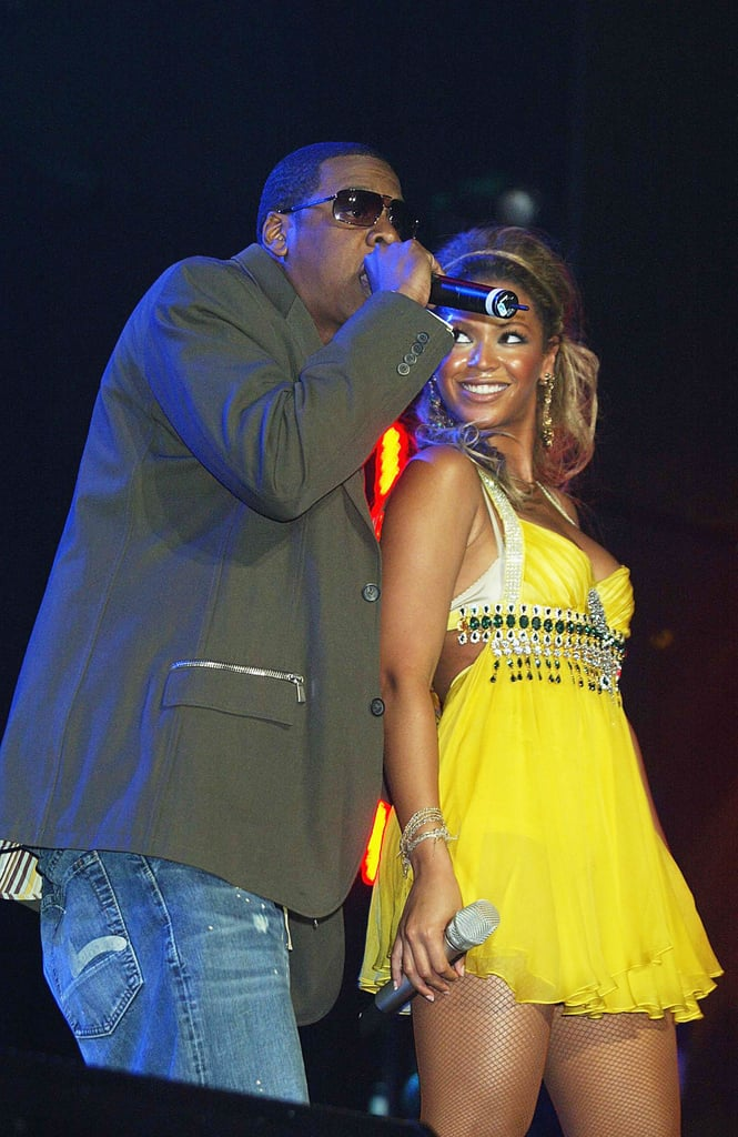 Jay-Z and Beyoncé shared the stage during the first day of the London's Prince's Trust Urban Music Festival in May 2004.