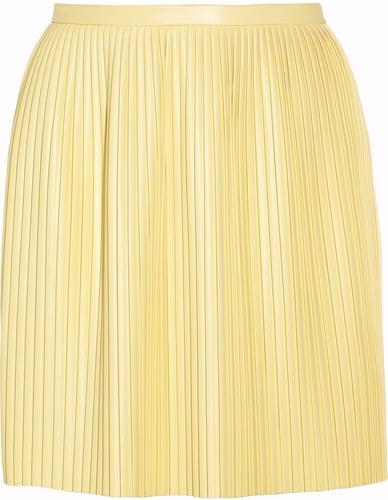 Tibi Eniko pleated faux leather mini skirt