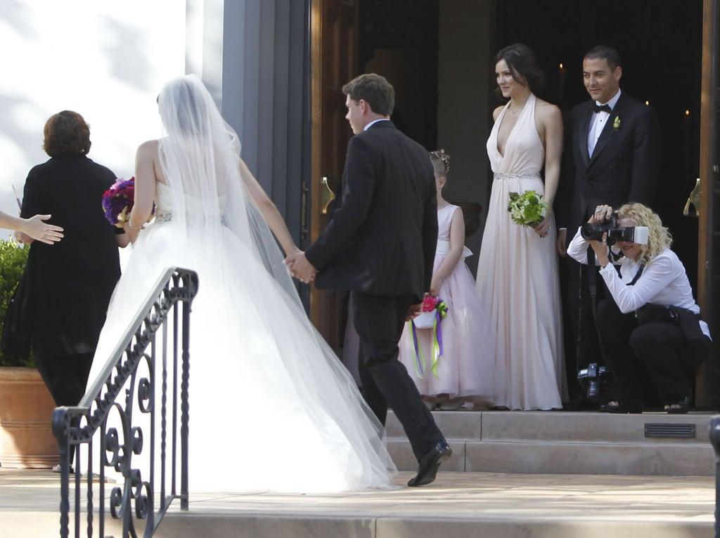 Katharine McPhee played bridesmaid at her sister Adrianna's LA wedding in June 2012.