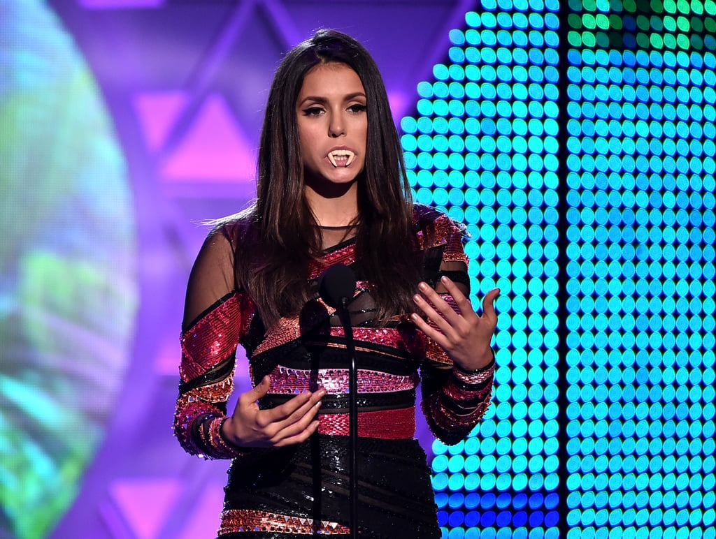 Nina Dobrev channelled her inner vampire while accepting the choice sci-fi/fantasy TV actress in 2014.