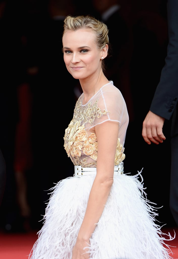 Diane Kruger looked lovely in a white feathered dress at the Nights in Monaco Gala Fundraiser.