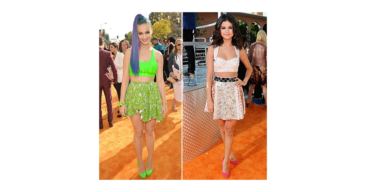 kids choice awards selena gomez katy perry wear crop