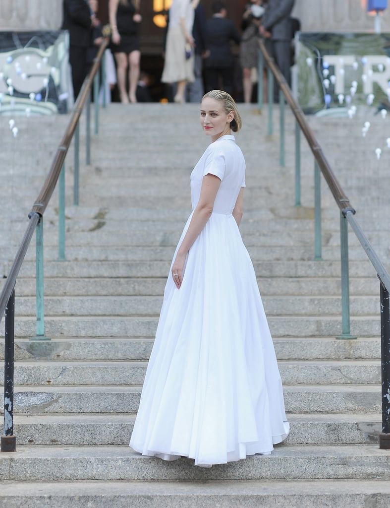 Leelee Sobieski posed on the stairs on her way into the Vanity Fair Party at the 2012 Tribeca Film Festival.