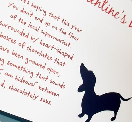 Doxie Valentine notes for your hopeless friends by WryAndGinger ($7 for 4)