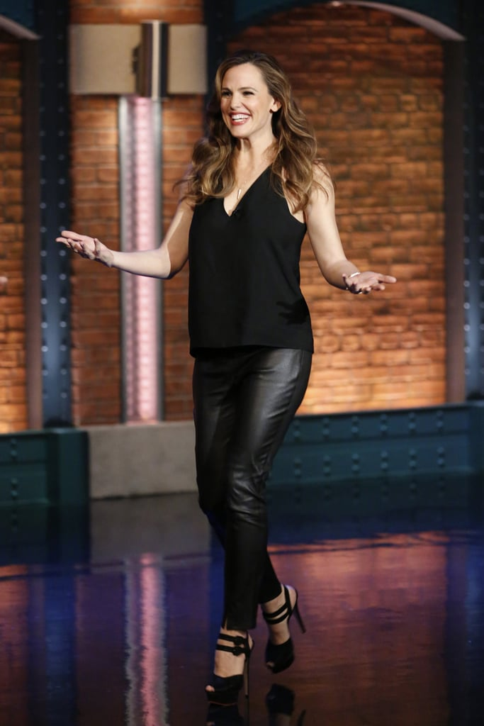 Jennifer Garner In Leather Pants March 2016 Popsugar Fashion