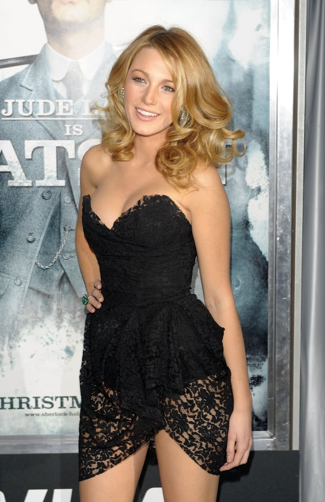 Blake Lively went short for the December 2009 premiere of Sherlock Holmes in NYC.