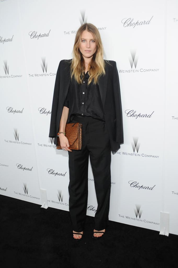 Dree Hemingway screamed tomboy-chic in a black tuxedo suit and a contrasting brown clutch at the Weinstein party.