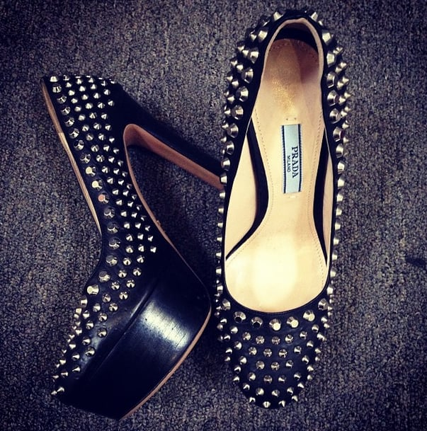 Nobody better mess with Emma Roberts when she's wearing these spiked Prada pumps! Source: Instagram user emmaroberts6
