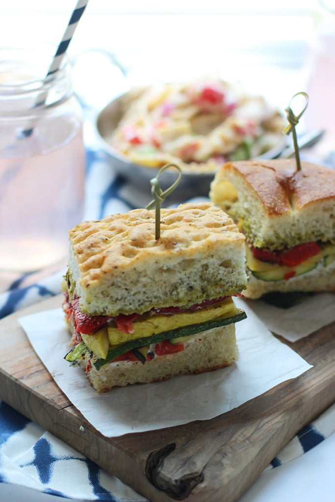 Grilled Veggie Sandwiches With Herbed Cream Cheese and Pesto