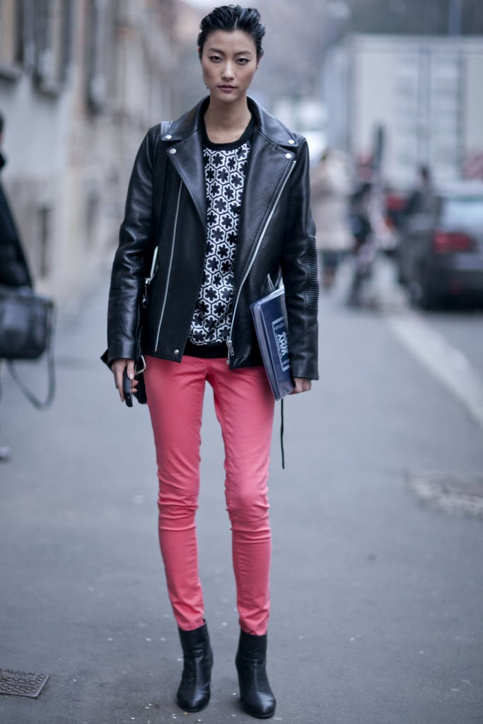 A motorcycle jacket gave tough-girl appeal to bright skinnies and a printed knit.