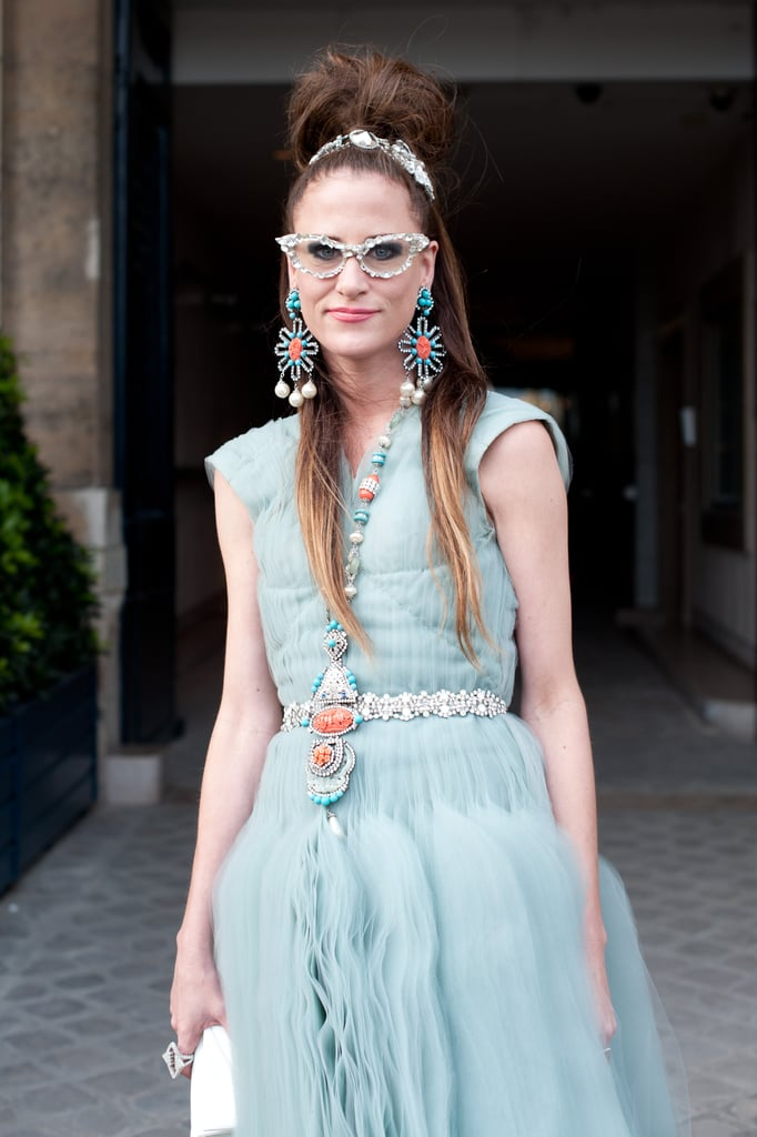 Eclectic add-ons made this look infinitely more fun — we're obsessed with those earrings.